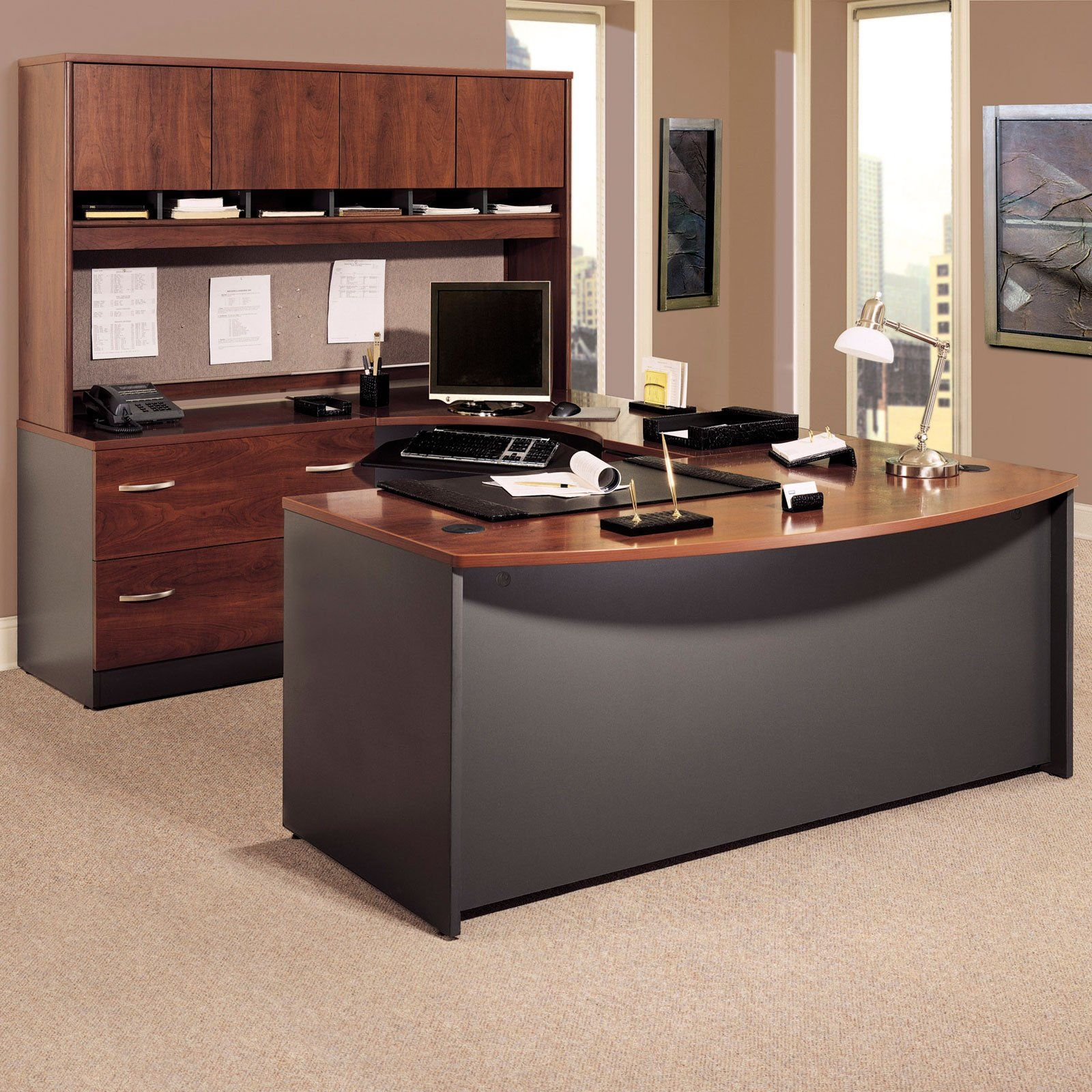 Bush Series C UShaped Desk with 4 Door Hutch and Lateral