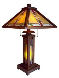Tiffany Style Arts/Crafts Mission Stained Glass Table Lamp