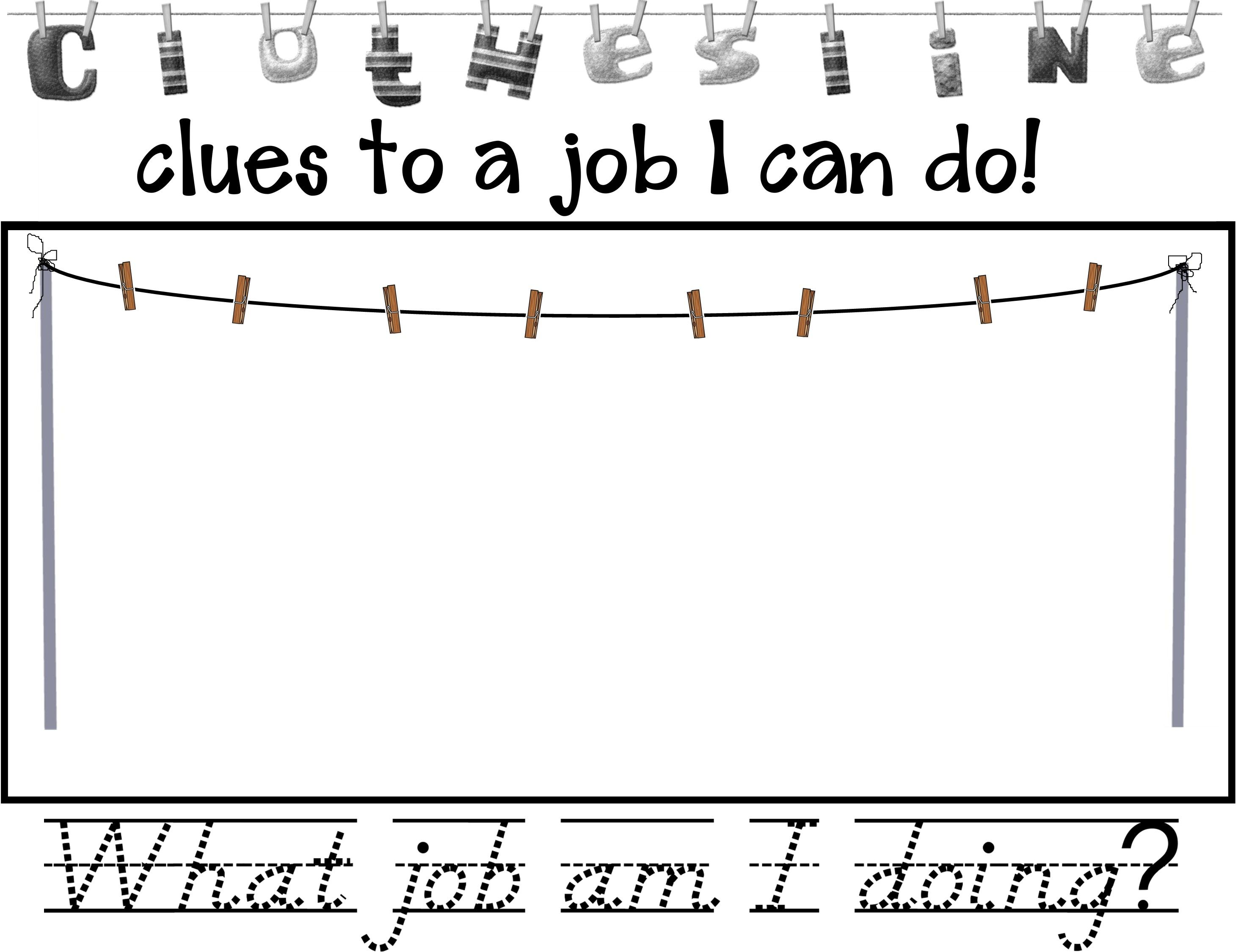 Worksheet To Go Along With Clothesline Clues To Jobs