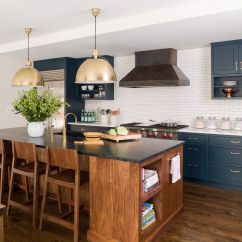 Navy Kitchen Cabinets Stainless Steel Outdoor Perimeter With A Warm Walnut Island And