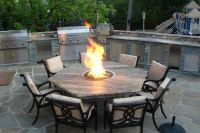 Pleasant Outdoor Dining Table With Fire Pit The Landscape ...