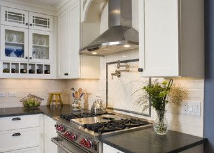 Soapstone and subway tile kitchen traditional chicago great rooms designers  vent hoodrange hoodswhite also