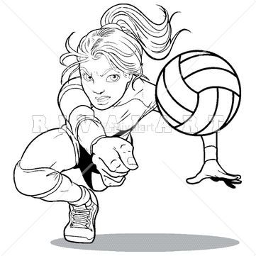 Sports Clipart Image of A Girl Digging For A Volleyball