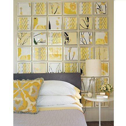 Scrapbook paper and cheap frames  like this as  headboard wall art even mixed in with some photos also  the gray yellow together  business displays pinterest rh