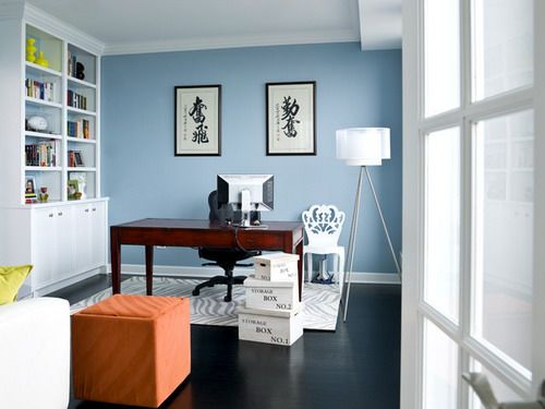 Water Front In The Windy City Transitional Home Office Wall Paint Colors