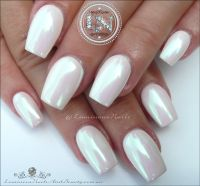 Pearly Chrome White Acrylic & Gel nails. | Nails ...