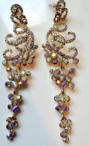 Crystal Chandelier Earrings Costume Jewellery Gold Diamonte Droplets New
