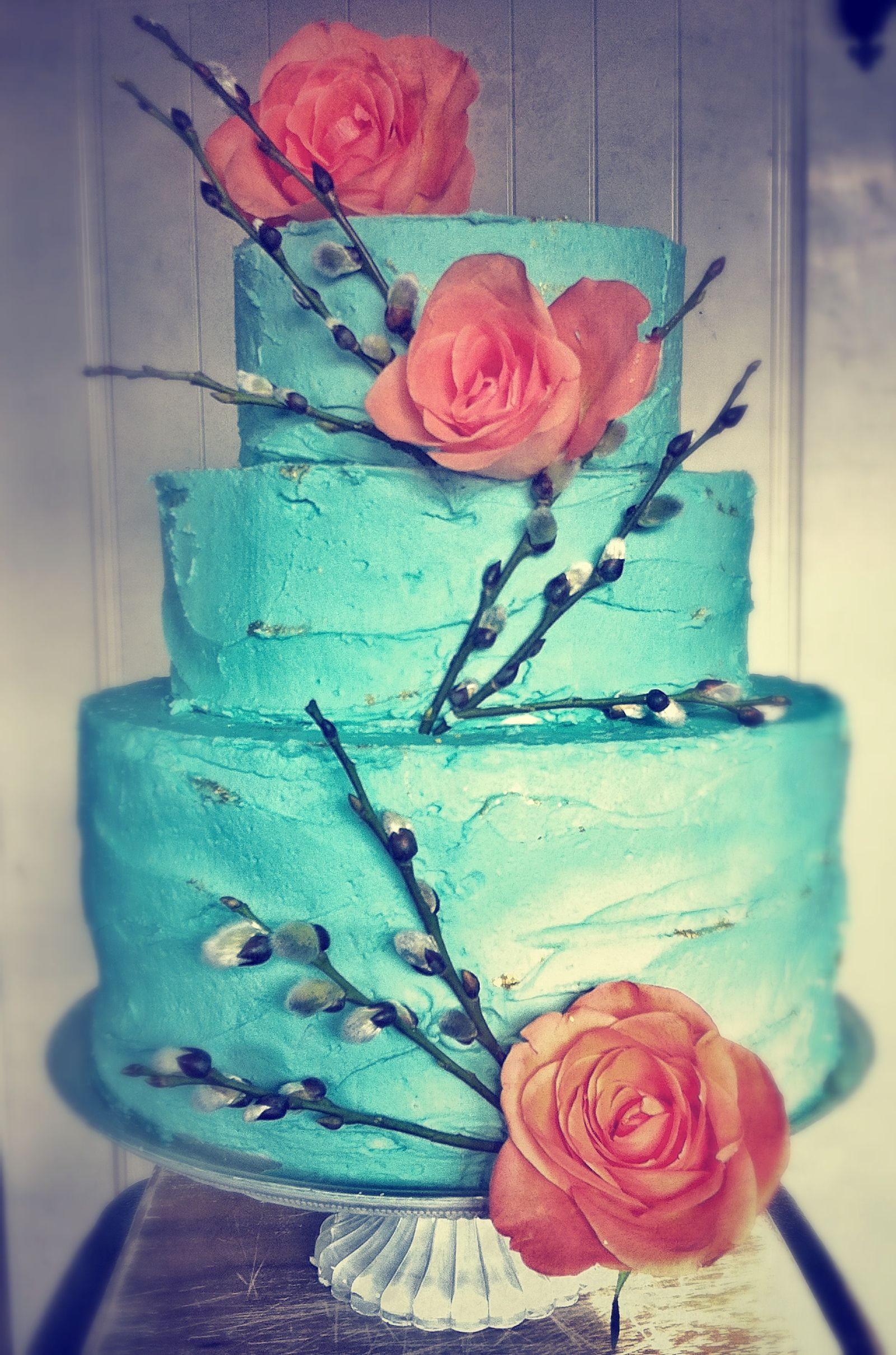 Turquoise and coral  Swell wedding cakes  Pinterest