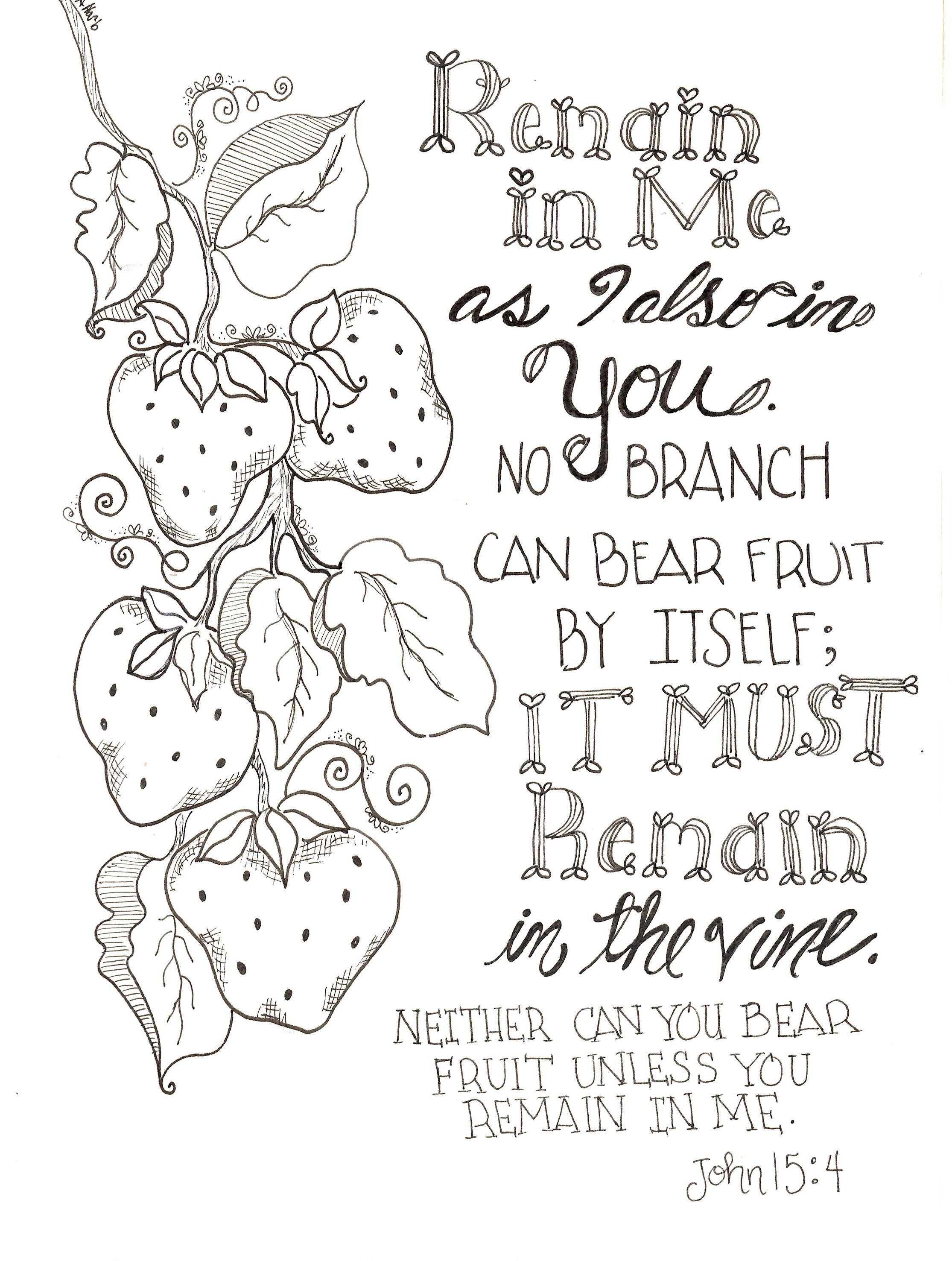Free Inspirational Remain In Me Scripture Coloring Pages