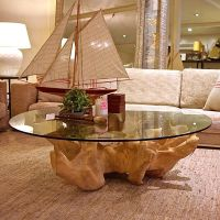 tree trunk table- this could be cool with my glass i have ...