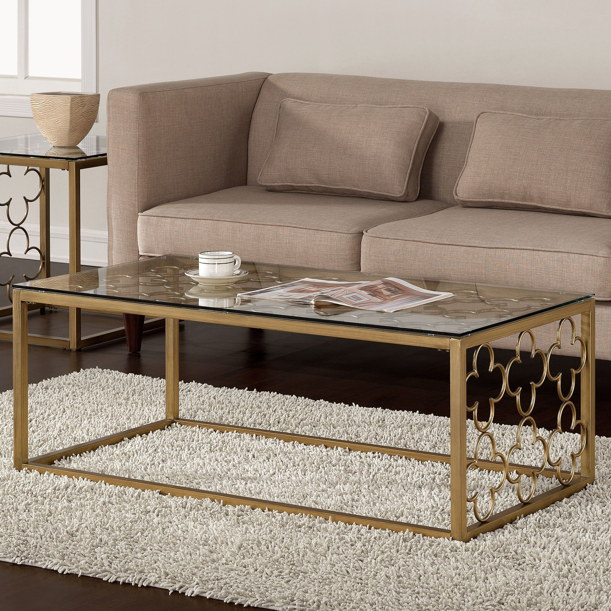 gold glass sofa table cat tunnel vendita quatrefoil goldtone metal and coffee by i love