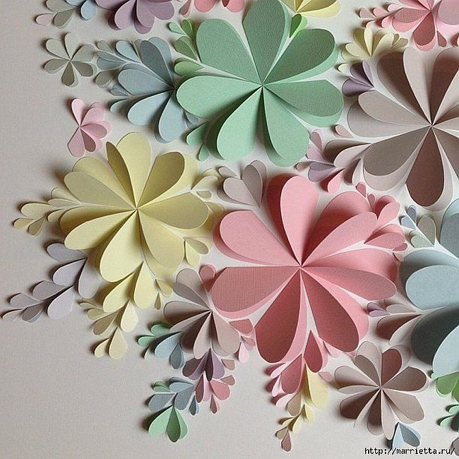 Delightful diy paper flower wall art free guide and templates also rh pinterest