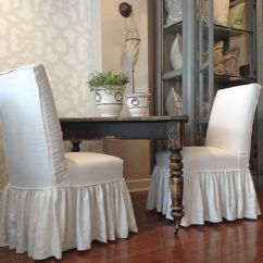 Parsons Chairs With Skirt Painted Windsor Quatrine Houston Farmhouse Dining Table And