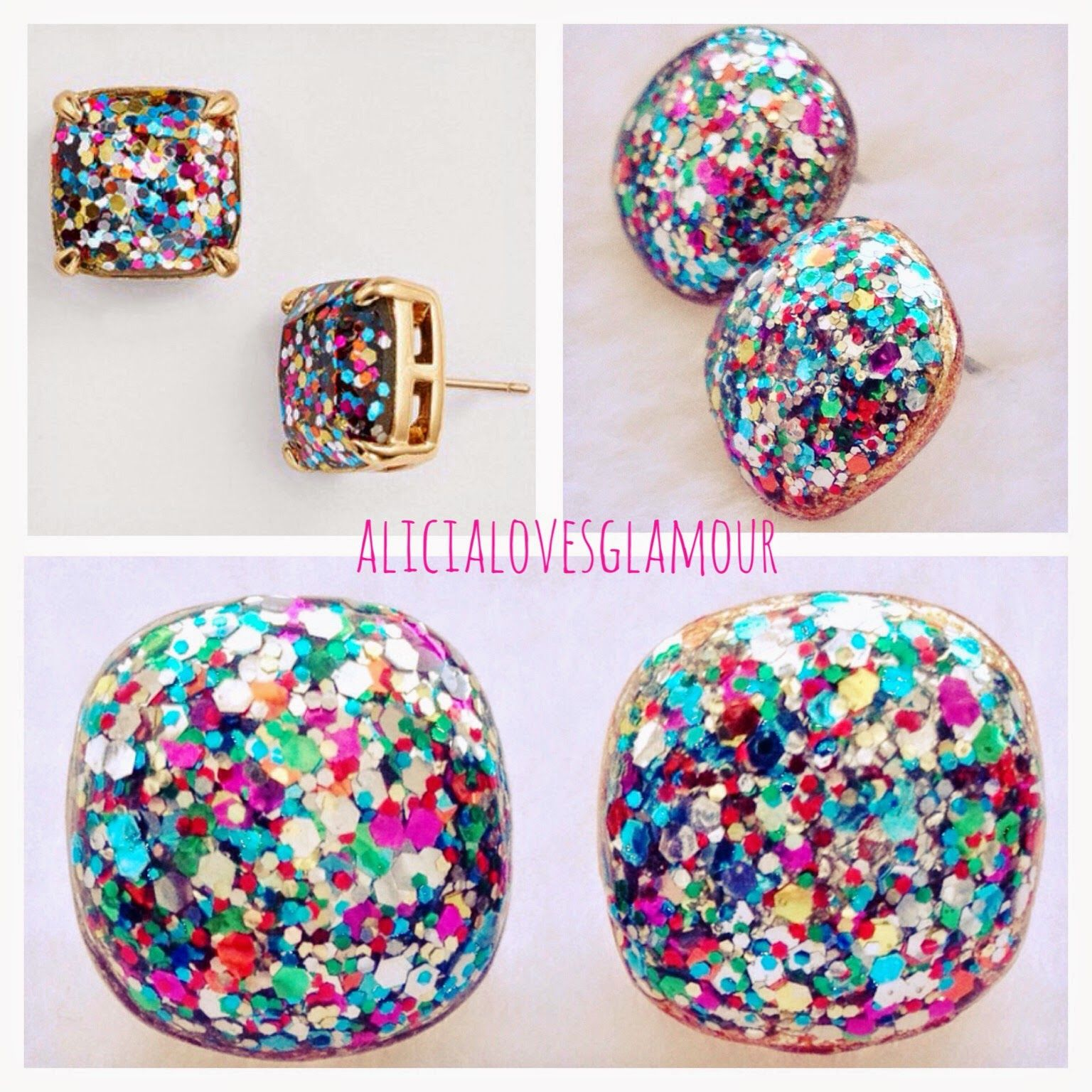 ": DIY Kate Spade ""Boxed Glitter Stud Earrings"""