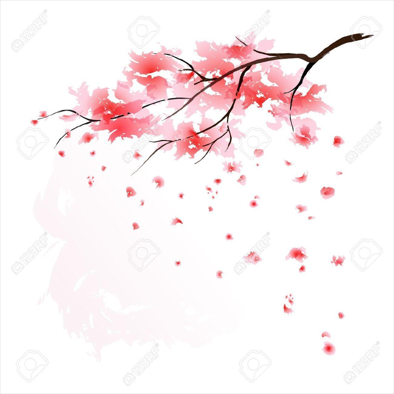 Cherry Blossoms Falling Stylized Wallpaper Sakura Branch Artwork Google Search Tattoo Ideas