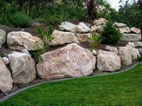 Boulder Retaining Wall on Pinterest | Boulder Landscape ...