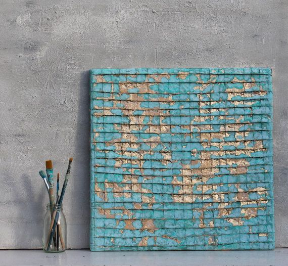 Abstract painting gold leaf original mixed media art wall decor turquoise unique  idea   also rh pinterest
