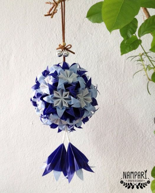 Origami christmas flower ball origami tutorial lets make it blue origami flower ball translucent mightylinksfo