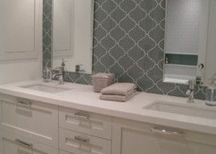Love the white cabinets and double vanity herringbone hardwood floors transitional bathroomdouble vanitywhite cabinetsglass tileshardwood powder also spatial comfort contemporary room bathroom pinterest