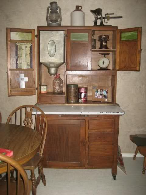 Decorating A Hoosier Cabinet Inside Your House! Home