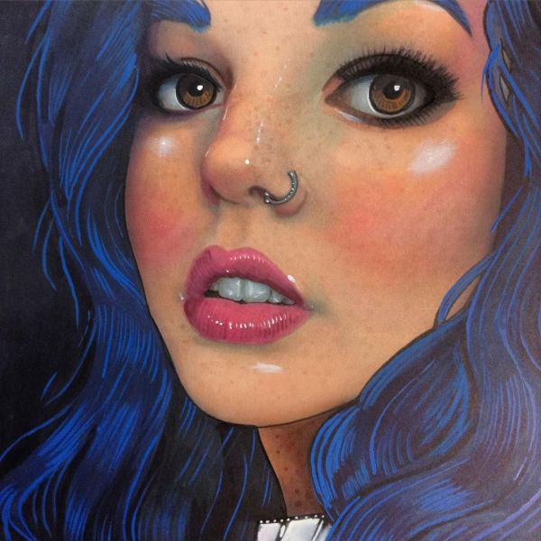 Copic Marker Realism ' Realistic Portraits Head Over