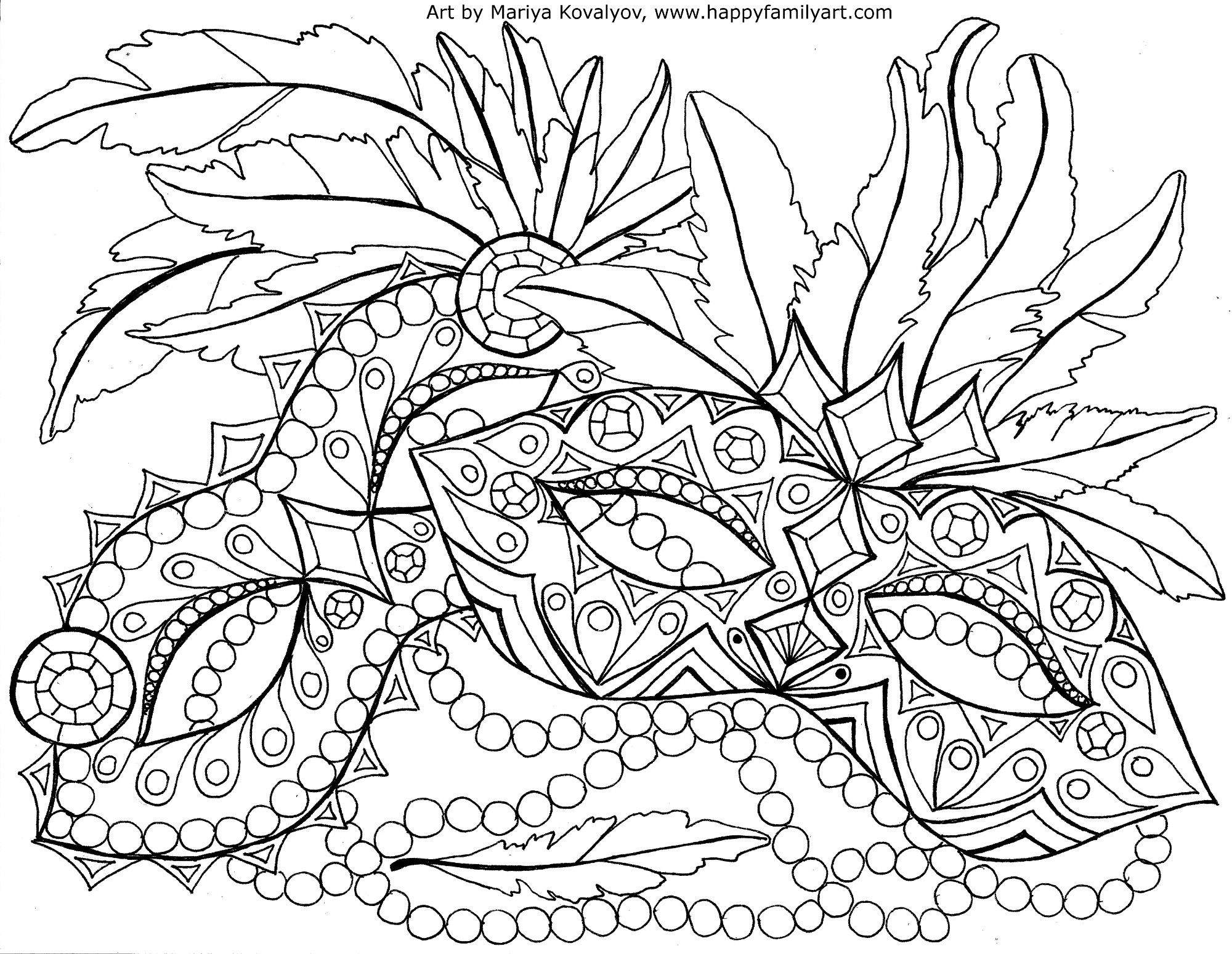 Mardi Gras Masquerade Colouring Page For Adults