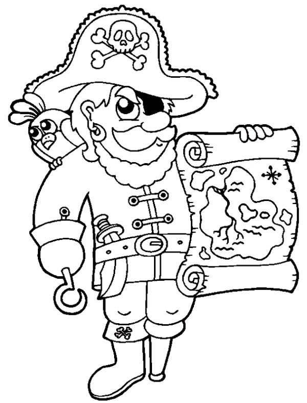 Treasure Map, : Awesome Pirate with Treasure Map Coloring