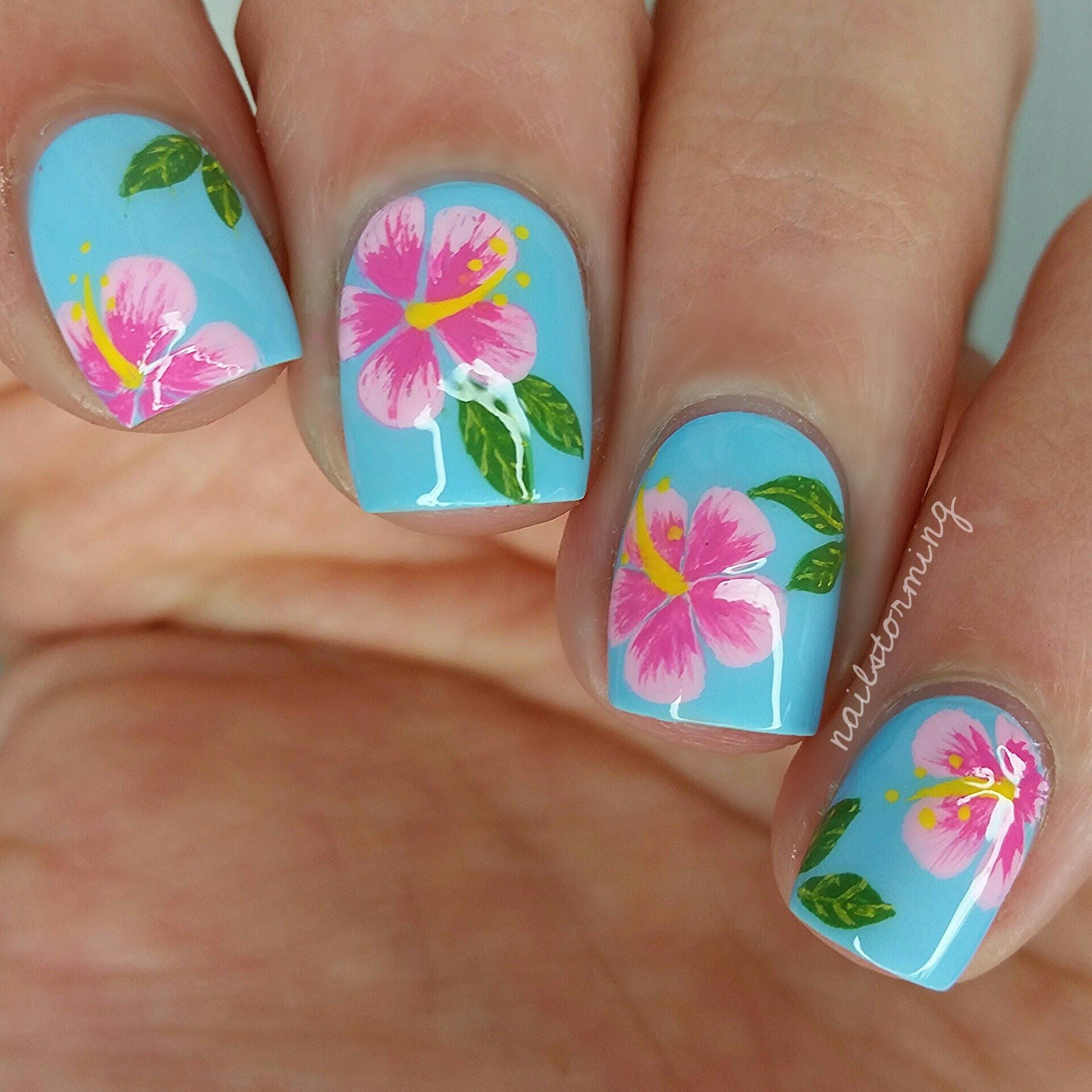 Nail Art Tutorial: Hibiscus