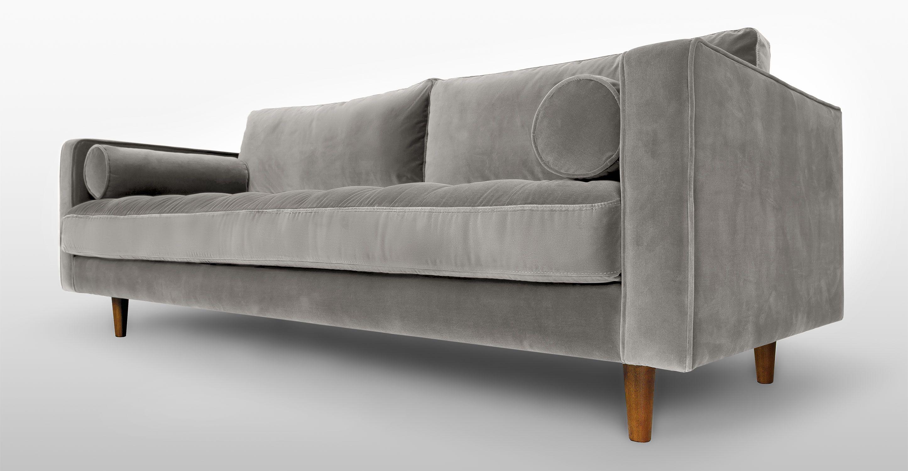 gray modern sofa set extra deep sofas uk grey velvet mid century upholstered sven