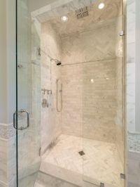 Herringbone tile shower floor and above for contrast ...
