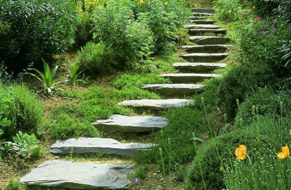 natural stone pathway hillside