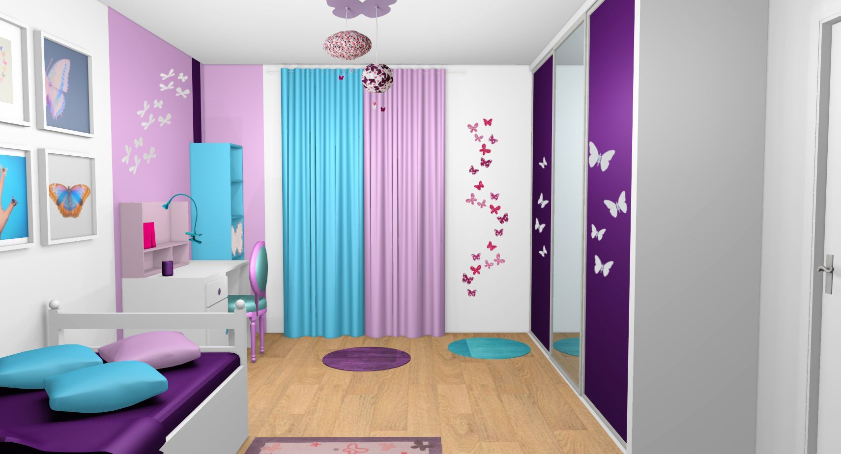 Chambre fille violet mauve turquoise papillons bandes peinture  Chambre fille  Pinterest