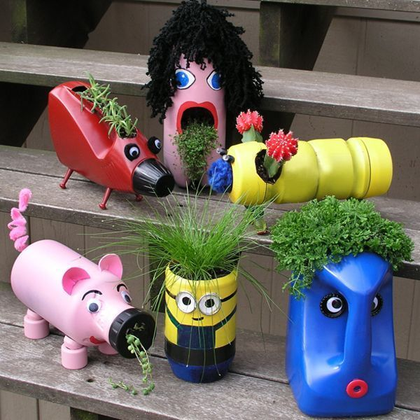 Old Bottles New Buddies Cute Upcycled Planters For Kids