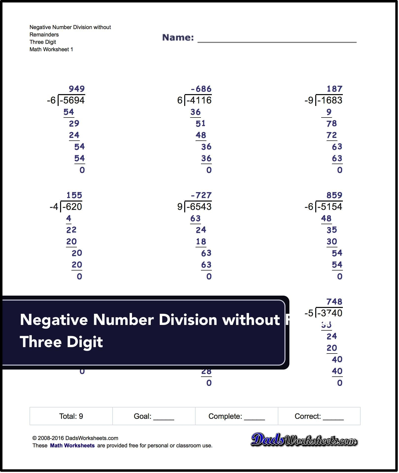 Math Worksheet For Negative Numbers