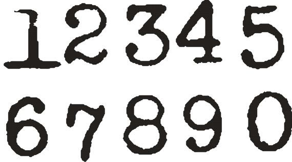 Old Typewriter font NUMBERS set 1 inch and one by