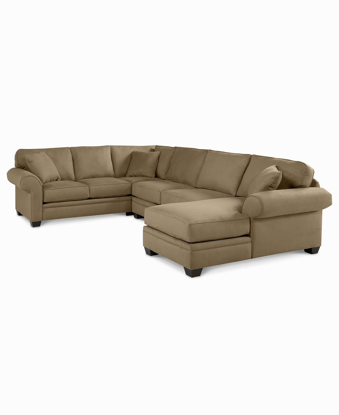 3 piece microfiber sectional sofa with chaise rattan slipcovers raja fabric right arm