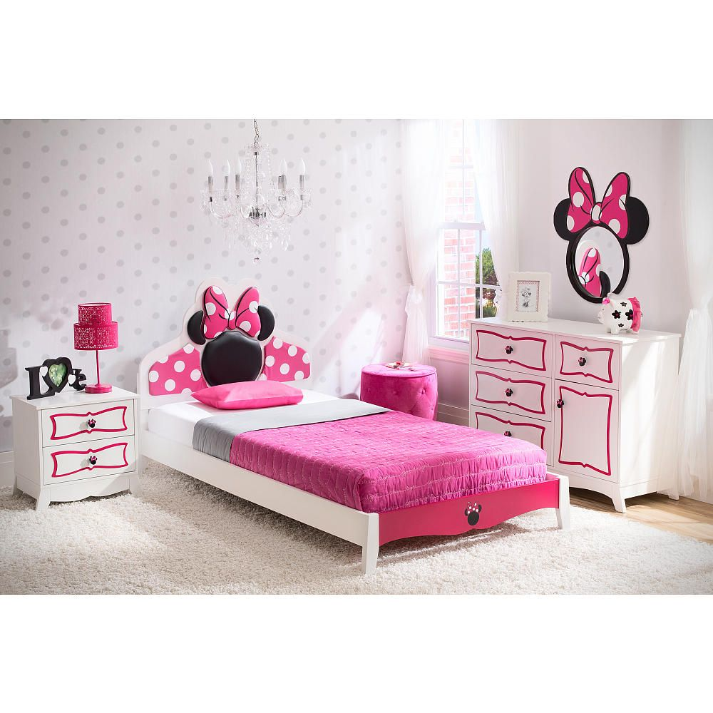 disney minnie mouse twin bedroom collection - white/pink - delta