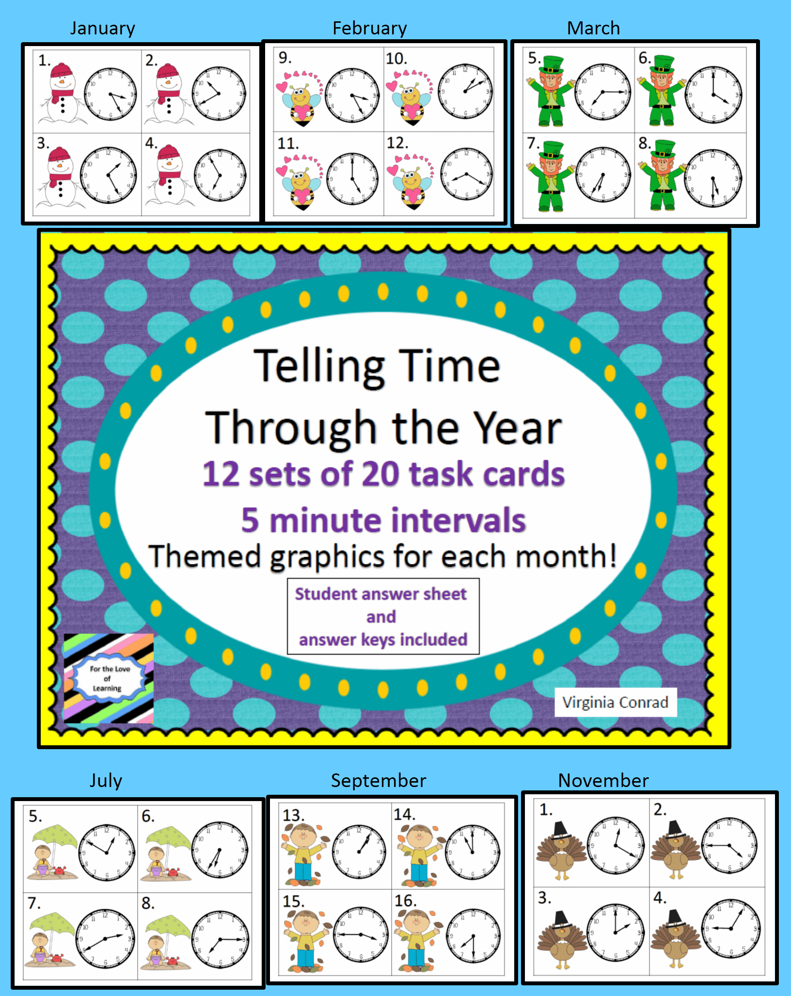 Telling Time All Through The Year 12 Sets Of Task Cards