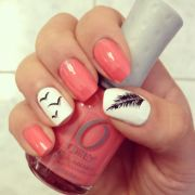 feather & bird nails with coral
