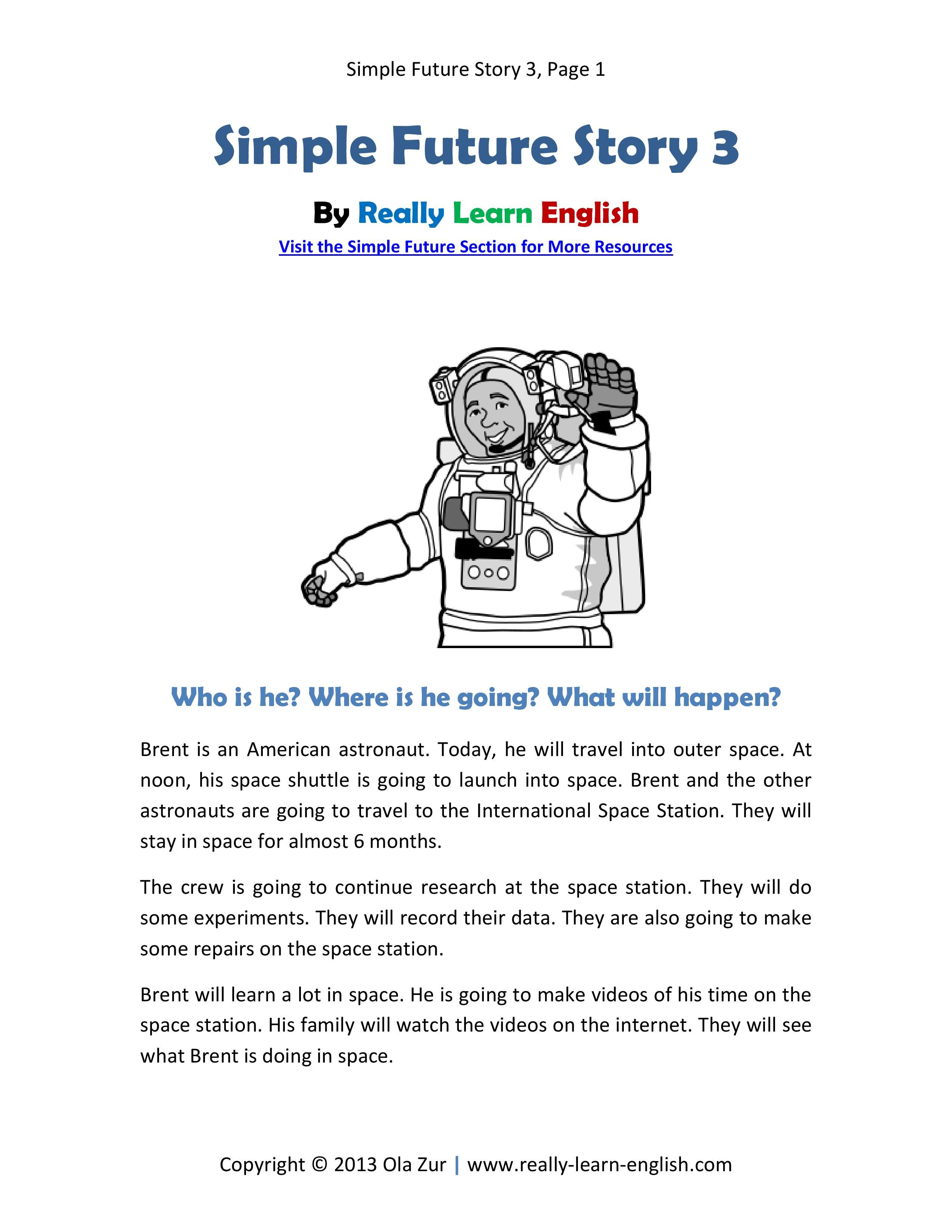 Free Printable Story And Exercises To Practice The English
