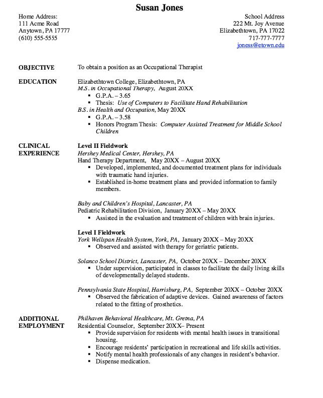 Sample Occupational Therapy Resume Unforgettable Occupational