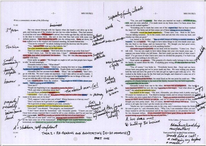 Annotated text example close reading pinterest