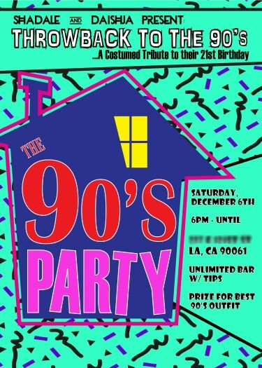 90's Theme House Party Digital Birthday Invitation Party