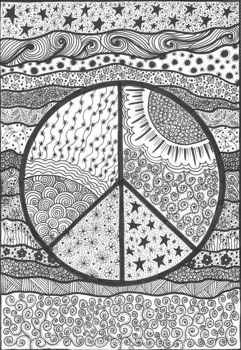peace! an original artworkcat magness  ☮ color it