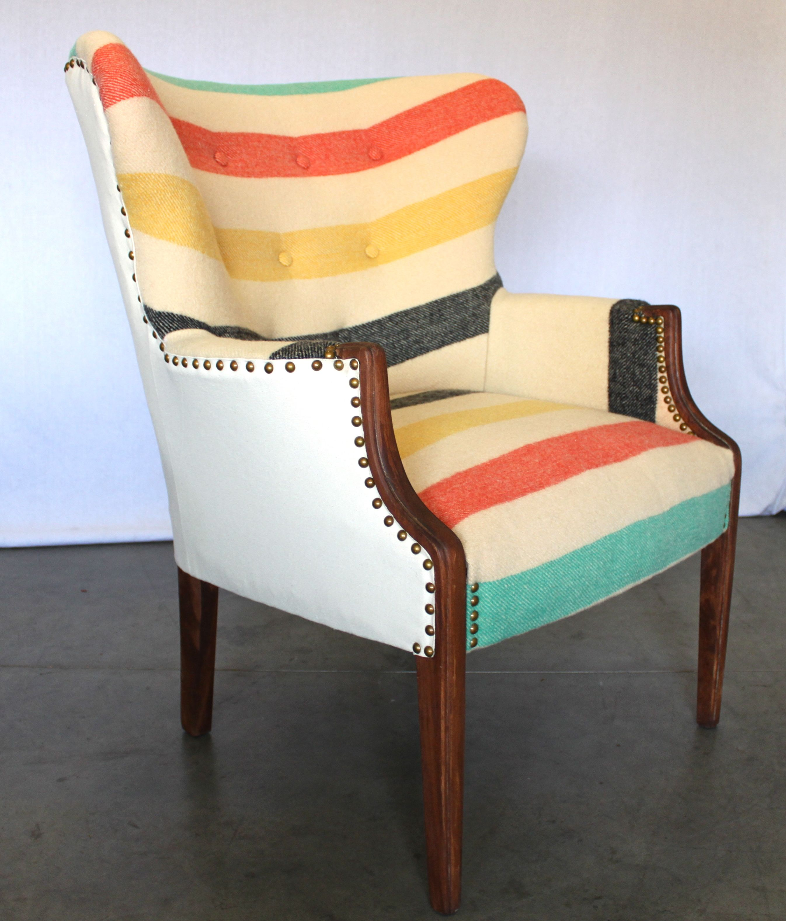striped wingback chair toddler rocking art deco wing back with pendleton style