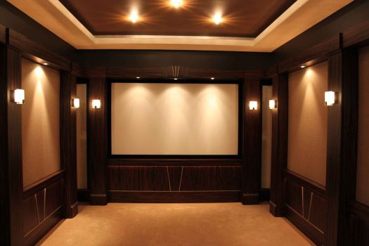 Interior Small Home Theater Room Ideas Big Screen On The Beige Wall Long Table Bar
