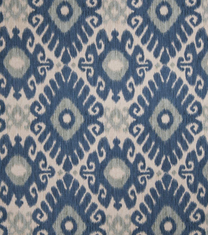 Jaclyn Smith Upholstery Fabric Ikat Rot Indigo Print 55 And