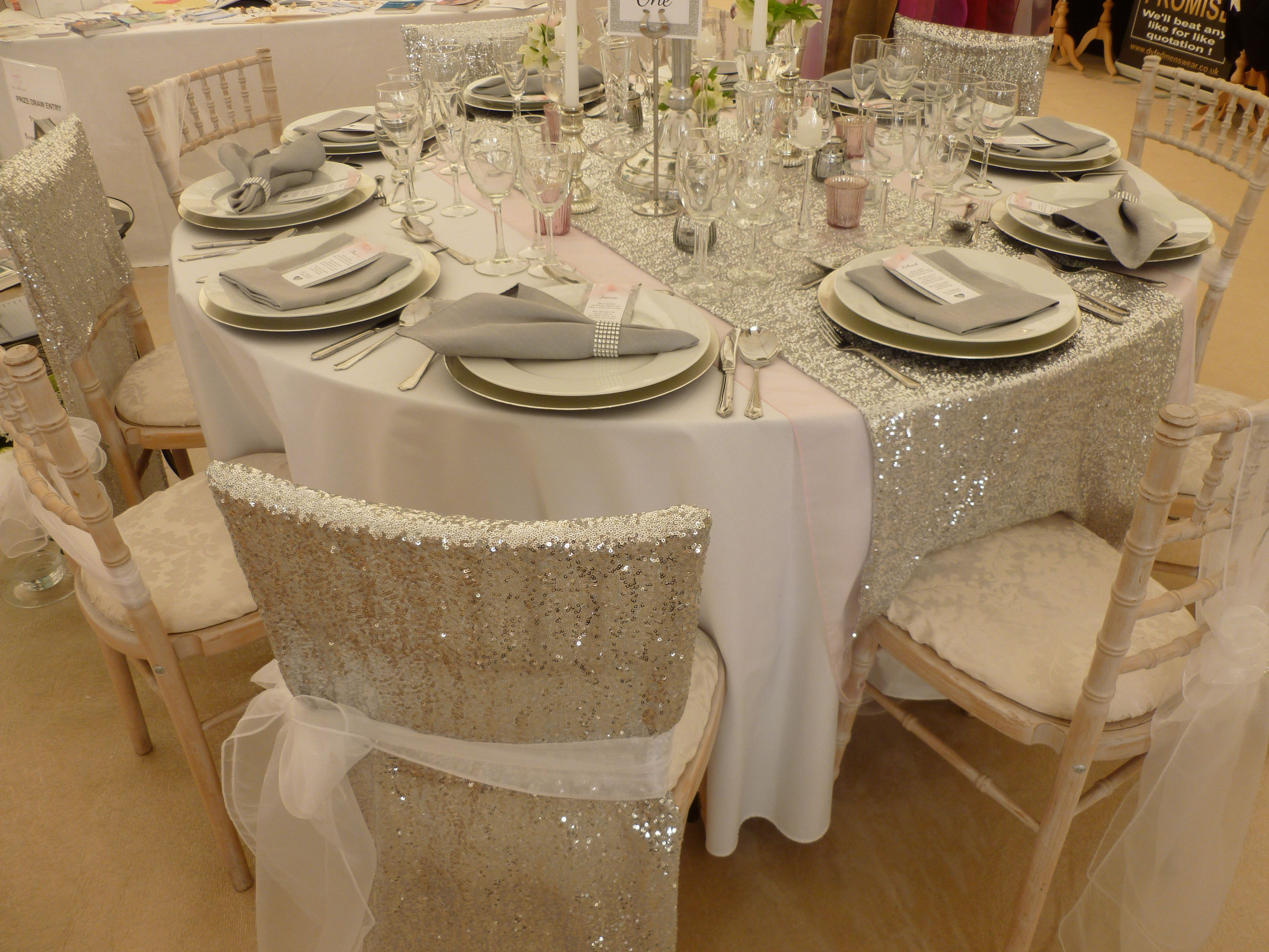 silver chair covers uk pier one rattan sequin veils and table runner designed
