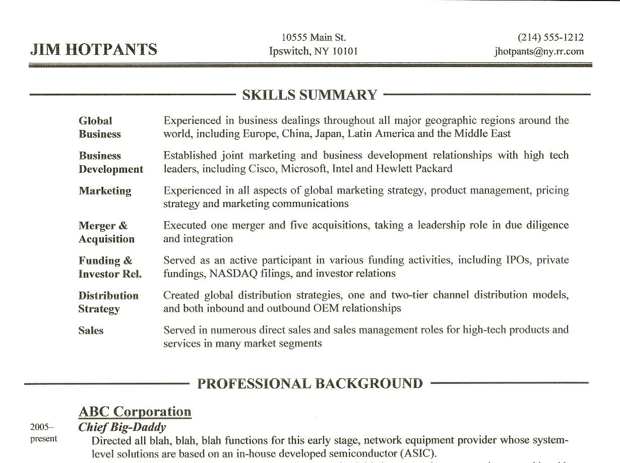 Example Of Skills Summary For Resume