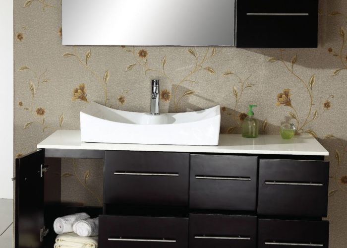 Bathroom awesome sink design on black teak wooden washing stand with mirror storages also